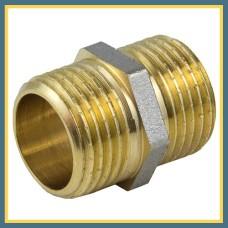 """Ниппель латунно-никелевый н/р 1/2"""" 150 мм VALTEC удлиненный"""
